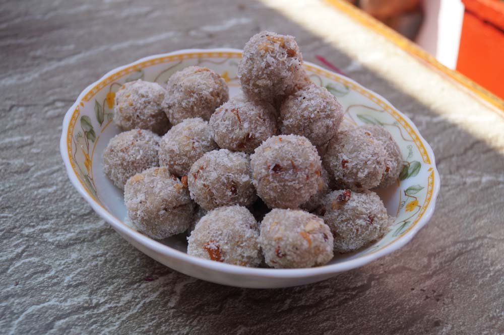 Coconut foxnut laddoo